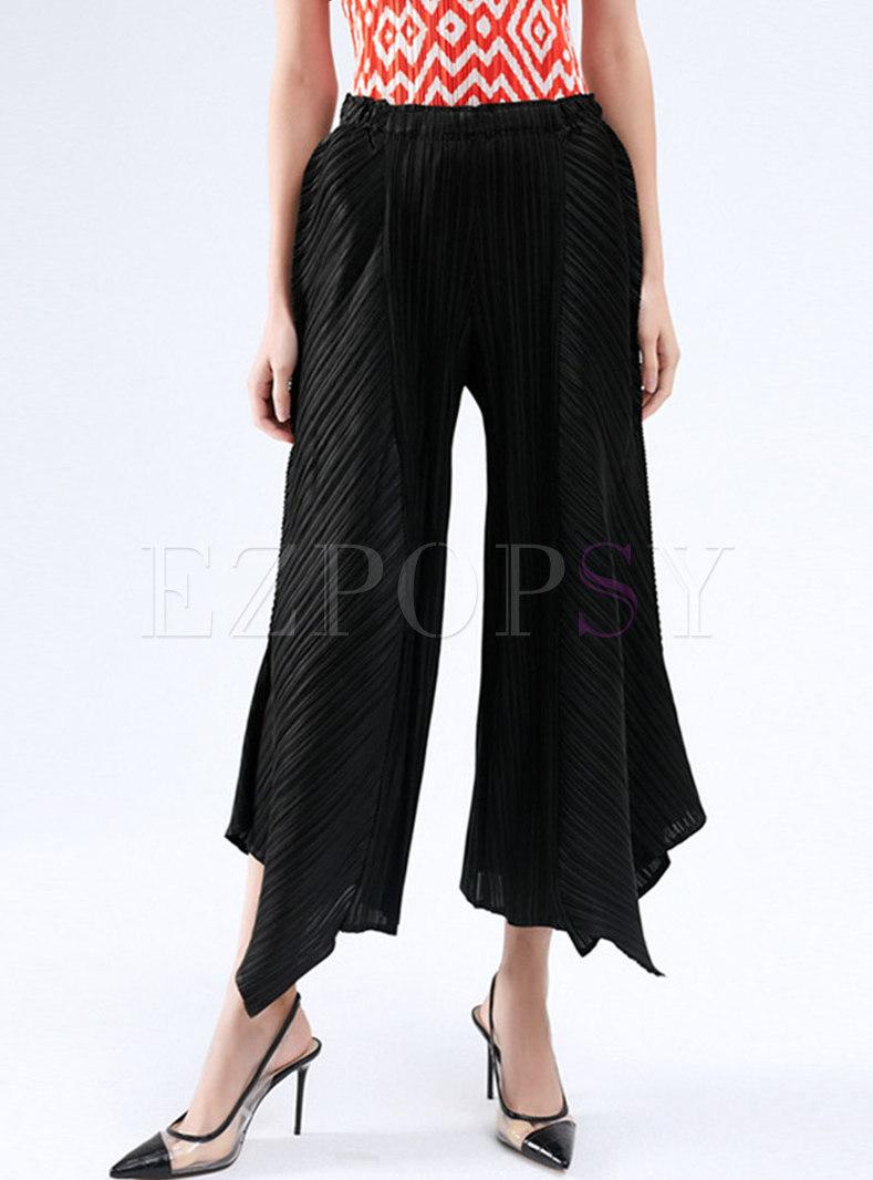 High Waisted Pleated Asymmetric Wide Leg Pants