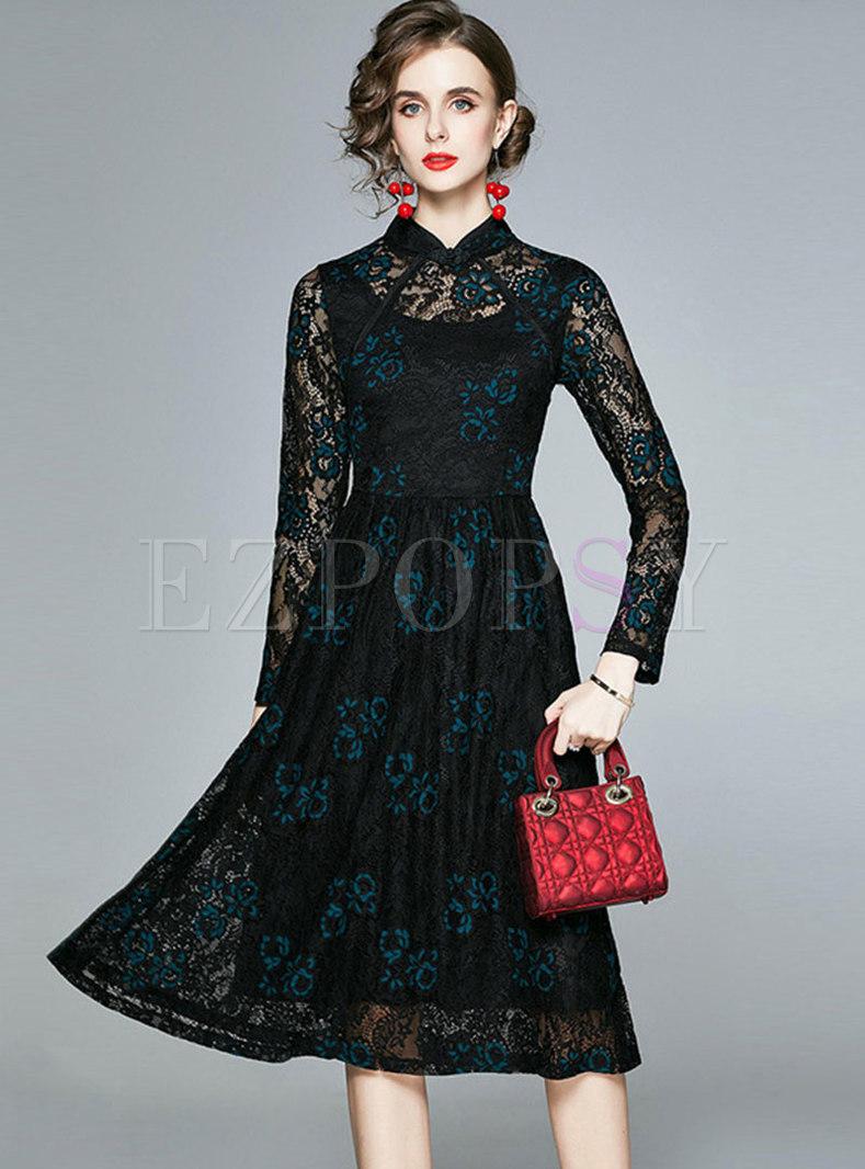 Mandarin Collar Long Sleeve Openwork Lace Dress