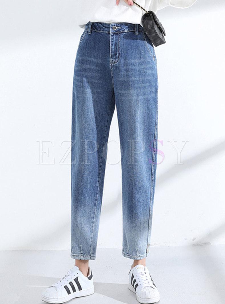 High Waisted Gradient Harem Jeans