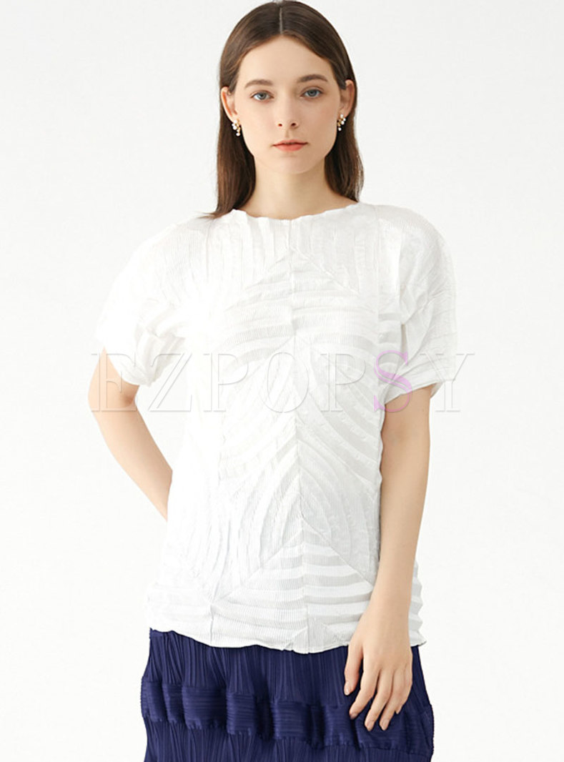 Casual Pullover Short Sleeve Pleated T-shirt