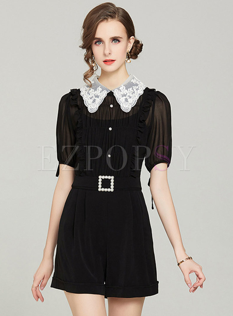 Transparent Lace Embroidered Belted Rompers