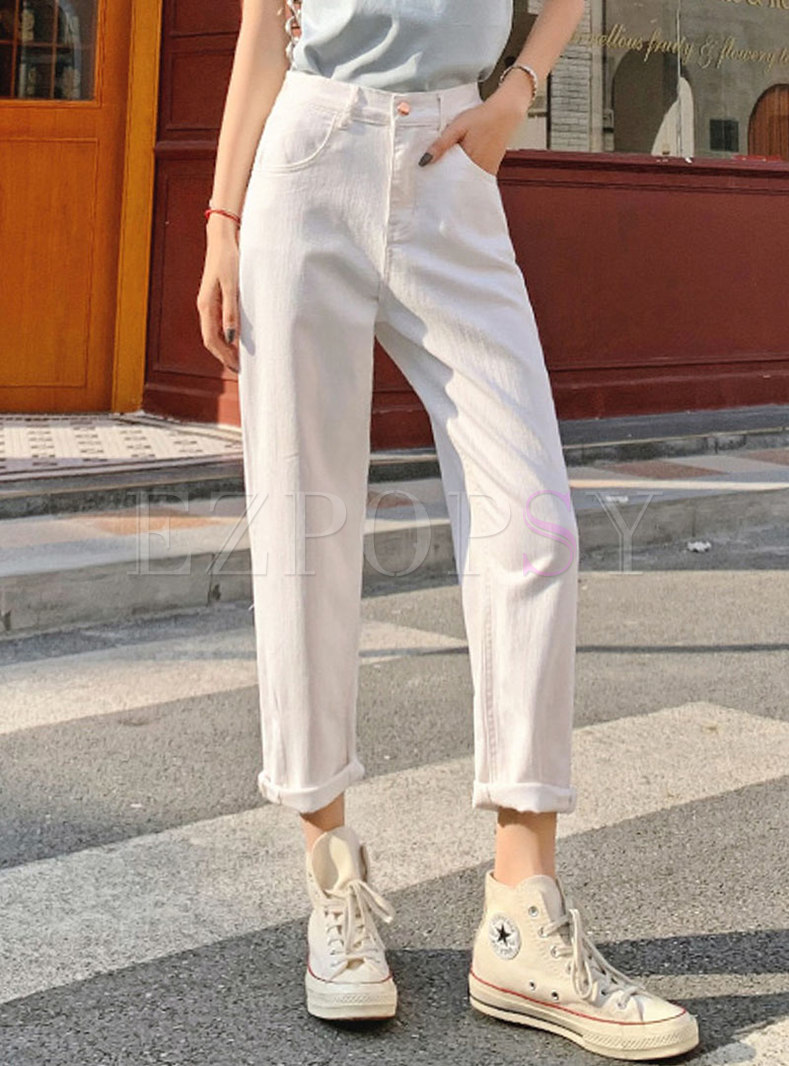 Casual White High Waisted Harem Jeans