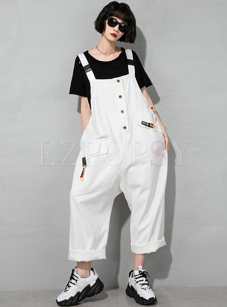 Solid Loose Single-breasted Denim Overalls