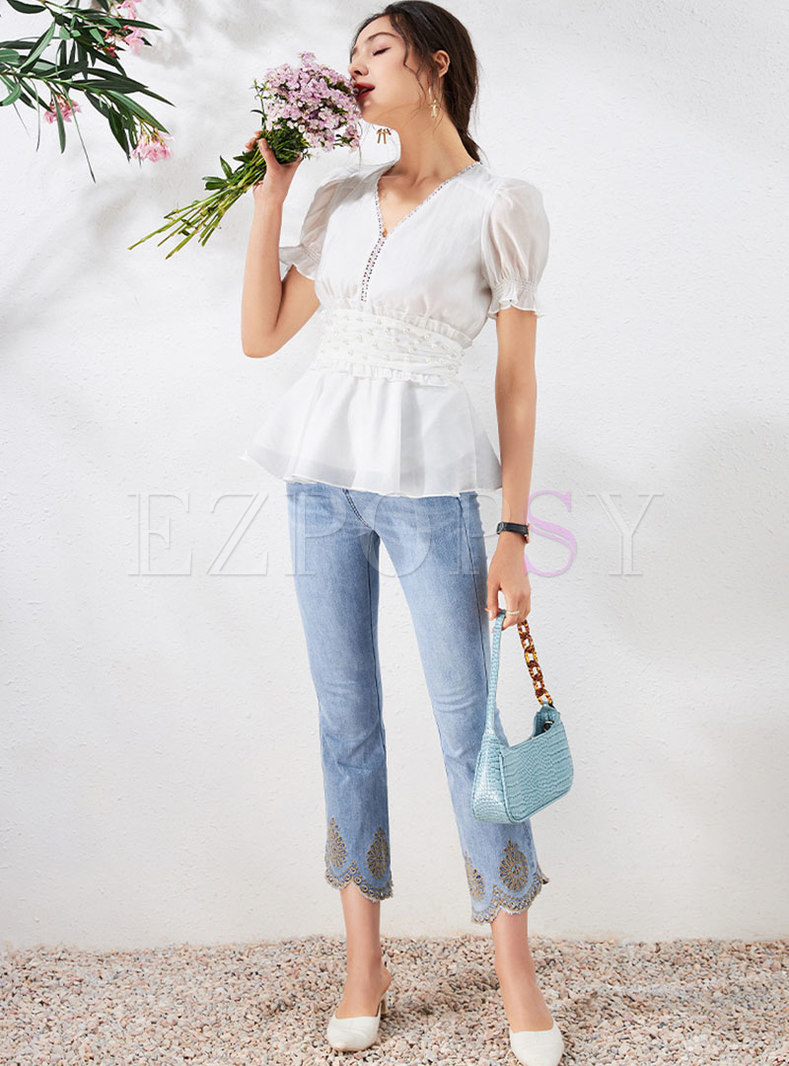 V-neck Puff Sleeve Blouse & High Waisted Flare Jeans