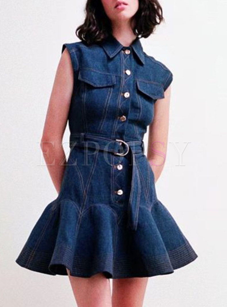 Turn-down Collar Sleeveless Ruffle Denim Skater Dress