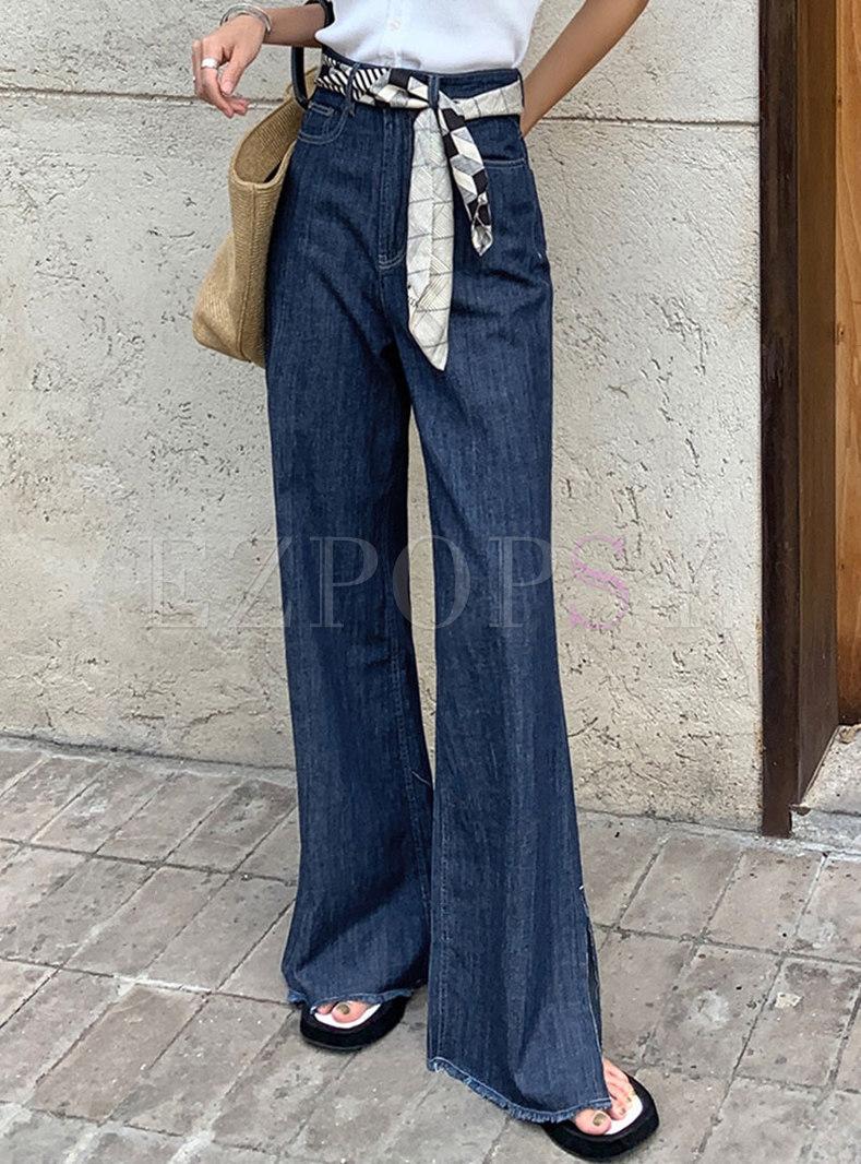 Deep Blue Split Flare Jeans