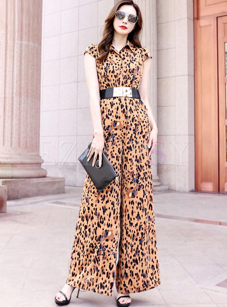 Turn-down Collar Leopard Chiffon Wide Leg Jumpsuits