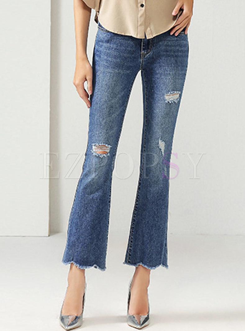 Blue Vintage Ripped Bell Bottom Jeans
