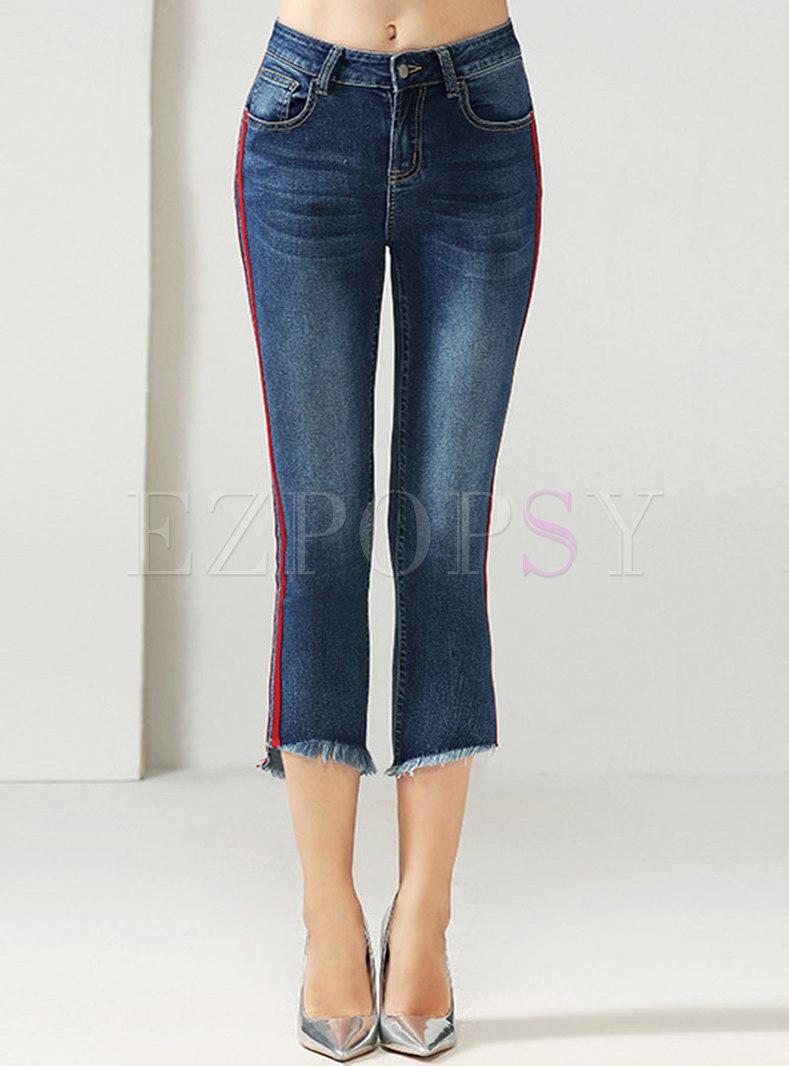 Blue High Waisted Striped Capri Flare Jeans