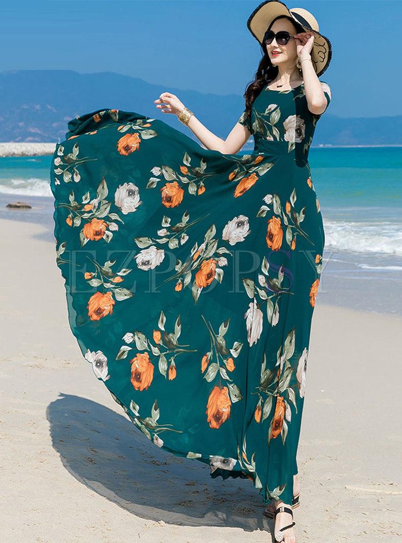 Green Print High Waisted Chiffon Beach Maxi Dress