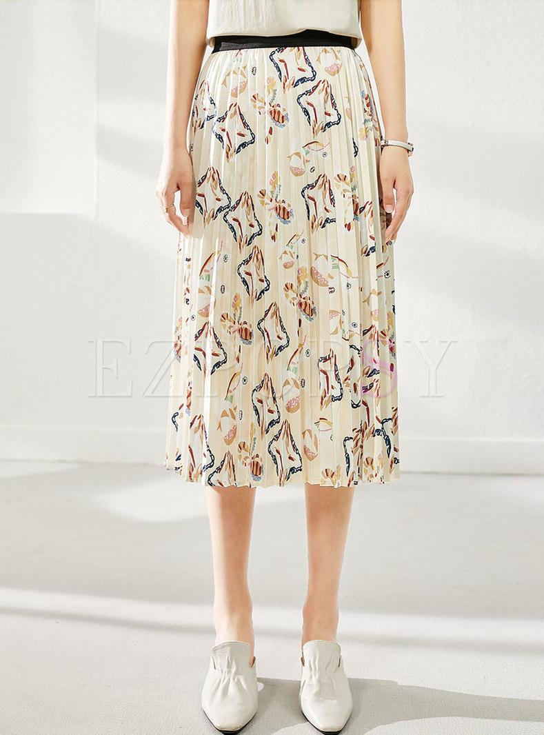 High Waisted Print Pleated Midi Skirt