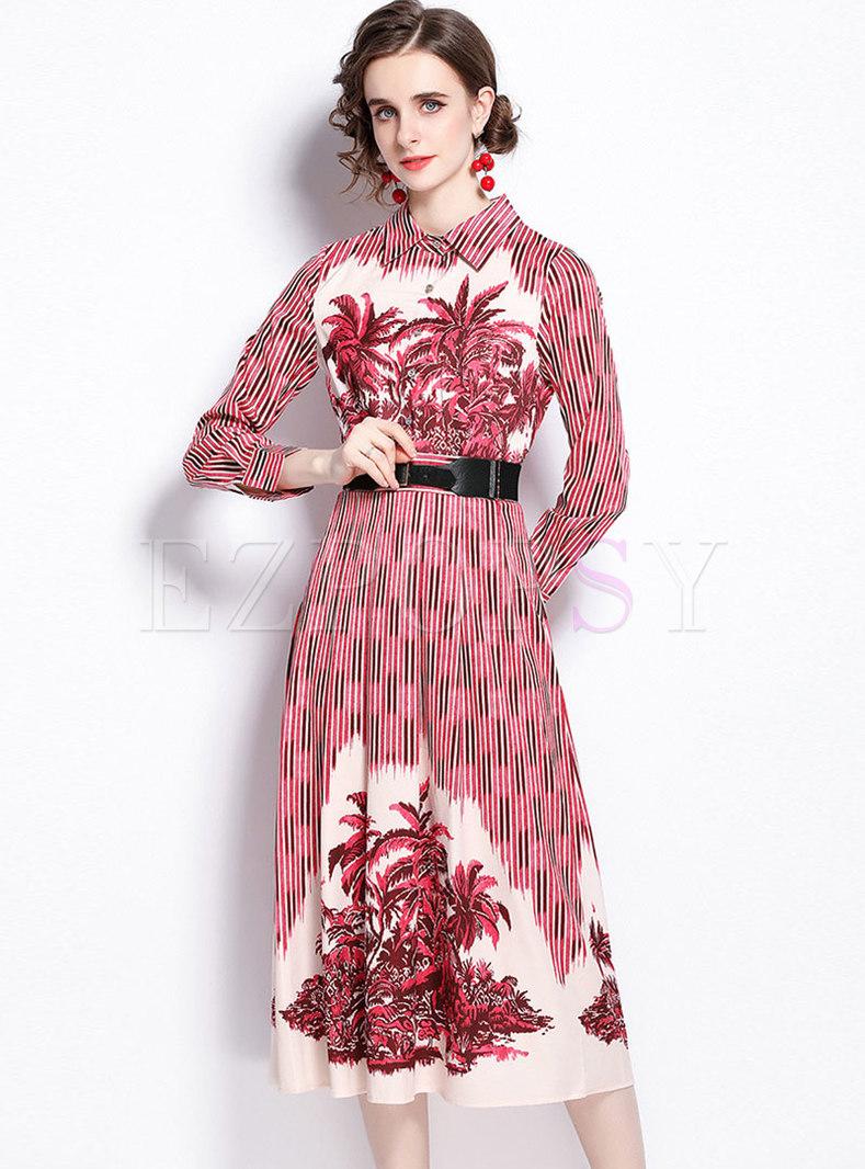 Turn-down Collar Striped Print Belted Midi Dress