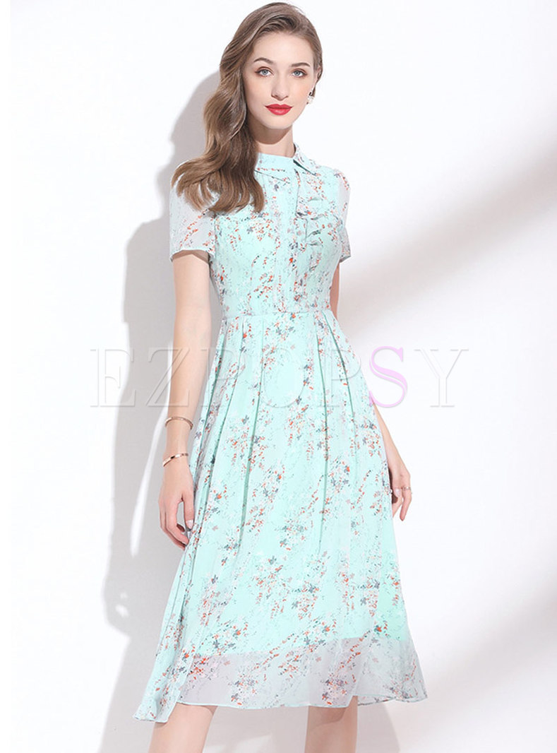 Turn-down Collar Blue Floral Chiffon A Line Dress