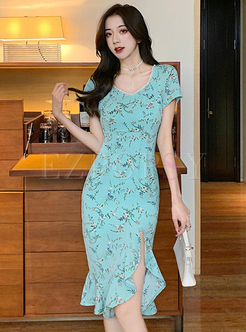 Blue Floral Pearl Embellished Split Peplum Dress