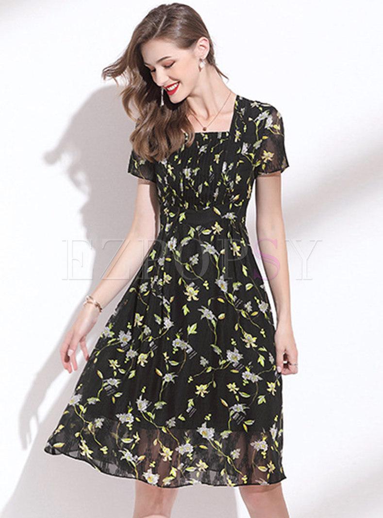 Square Neck Floral Draped Chiffon Skater Dress