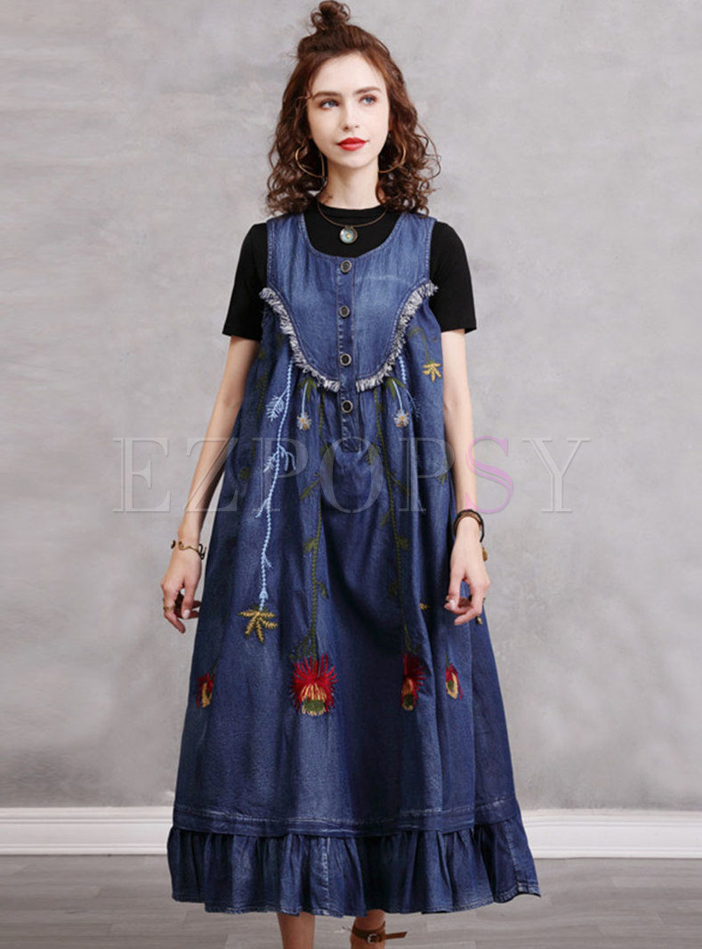 Sleeveless Vintage Embroidered Denim Maxi Dress