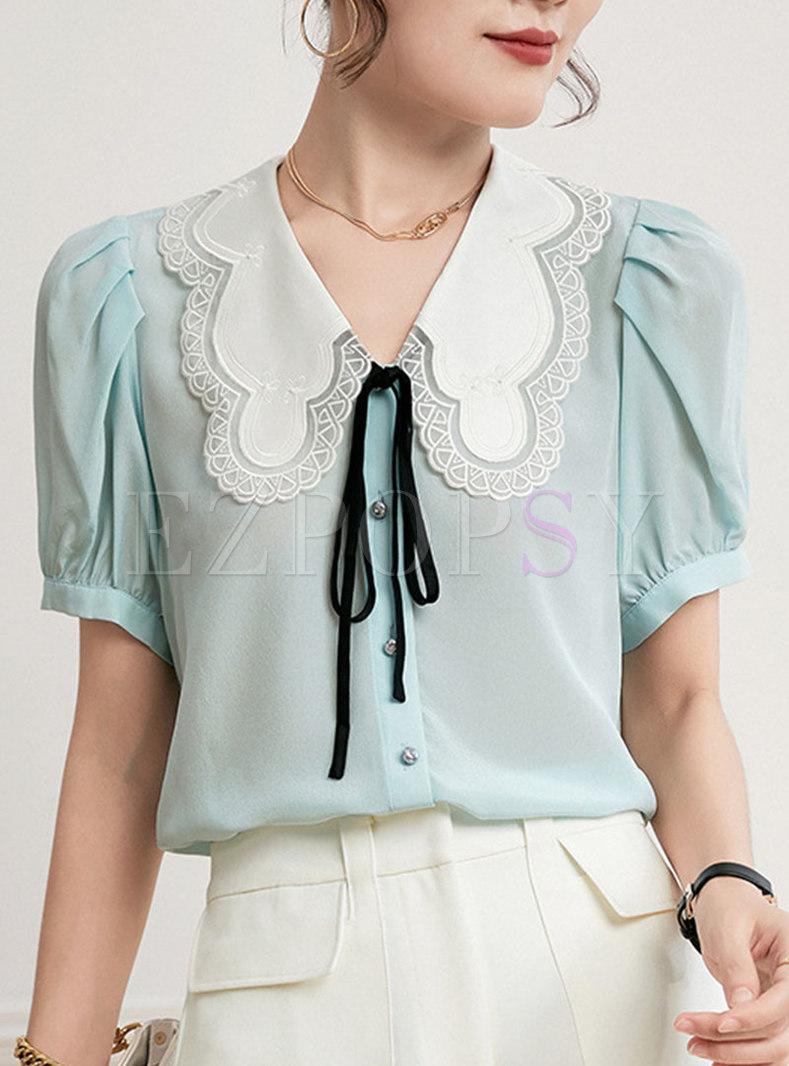 Cute Turn-down Collar Embroidered Silk Shirt
