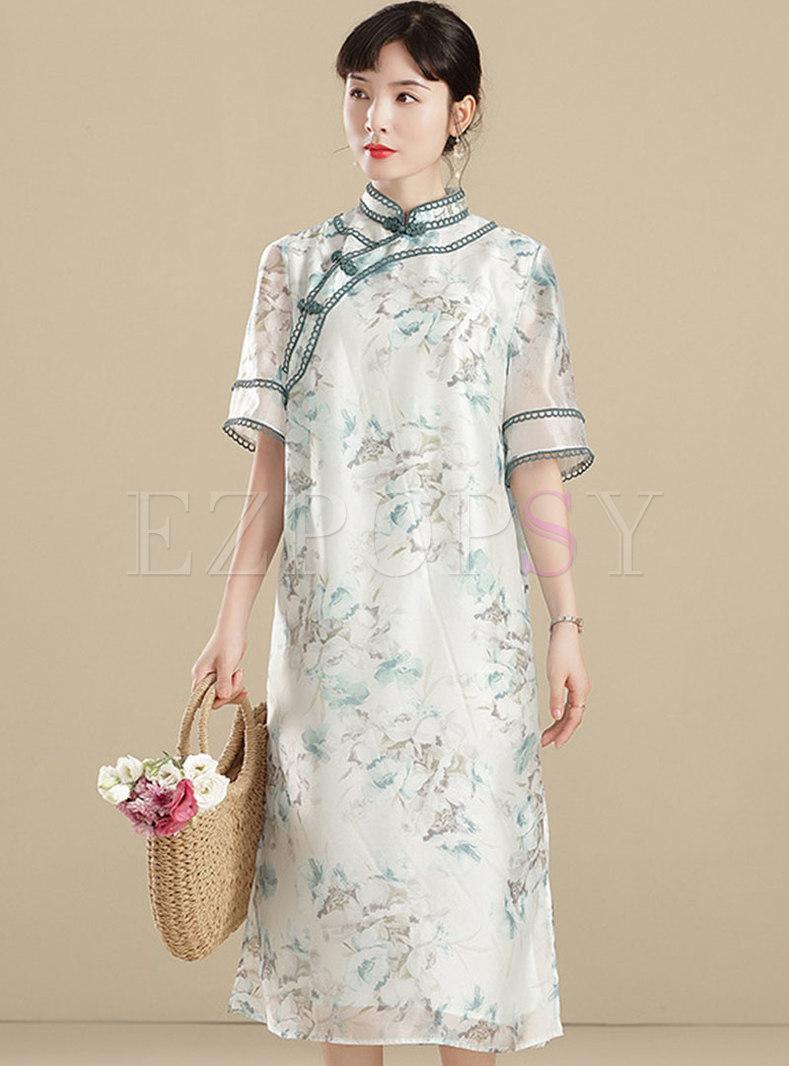 Vintage Mock Neck Half Sleeve Silk Cheongsam Dress
