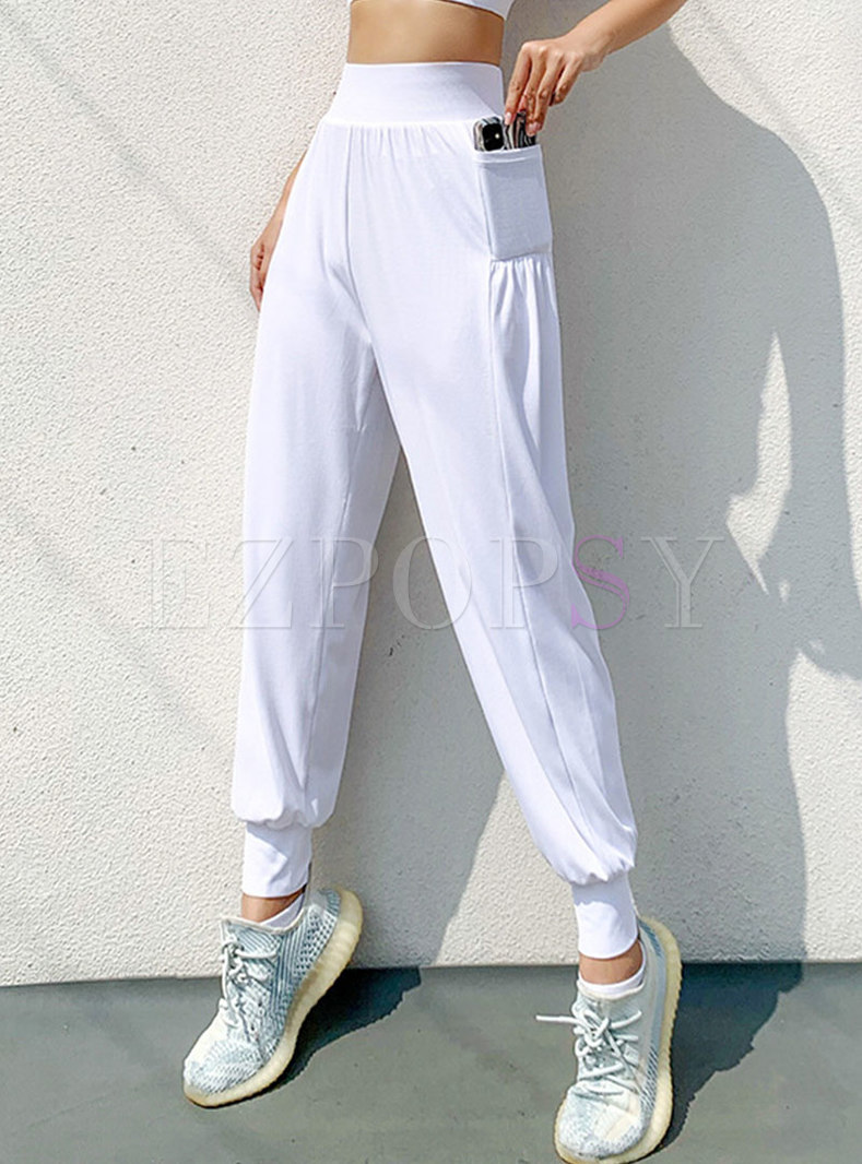 Solid High Waisted Pocket Quick-dry Joggers