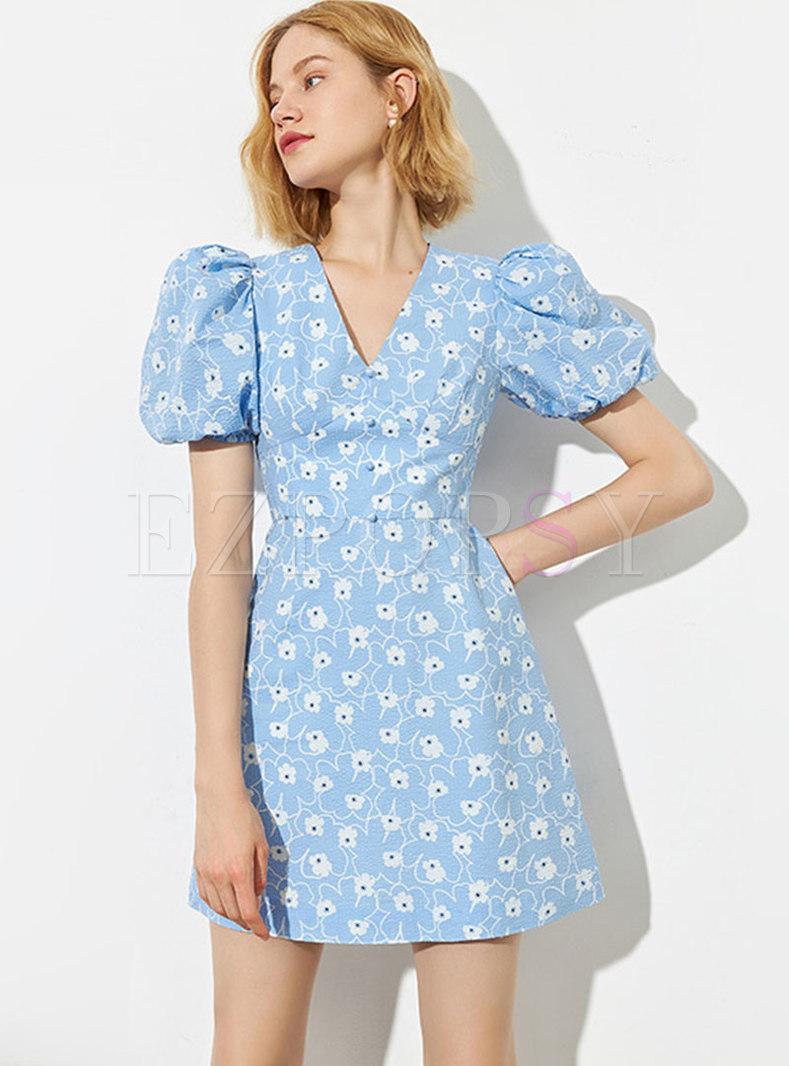 Blue V-neck Puff Sleeve A Line Mini Dress