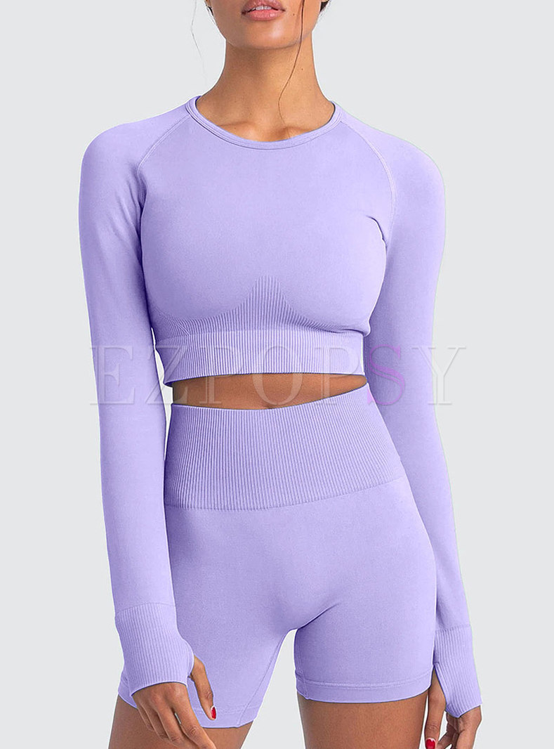 Long Sleeve Knit Patchwork High Waisted Tracksuit
