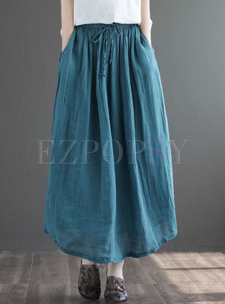 High Waisted Drawstring Linen Maxi Skirt
