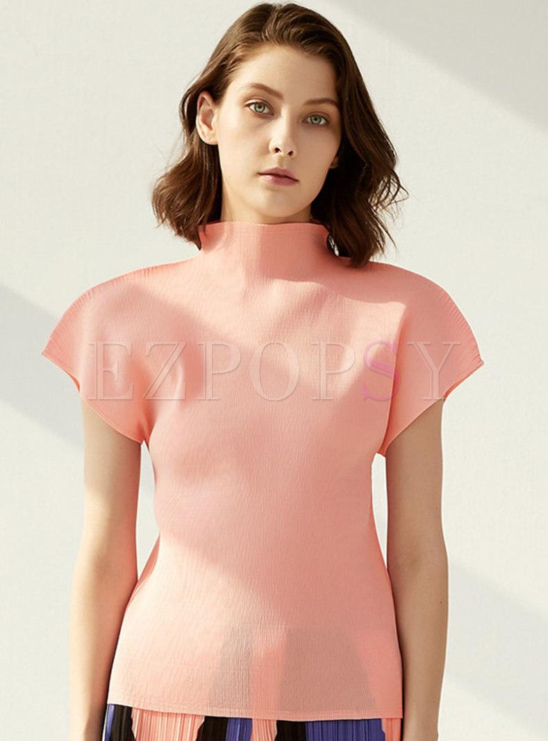 Mock Neck Raglan Sleeve Solid Loose T-shirt