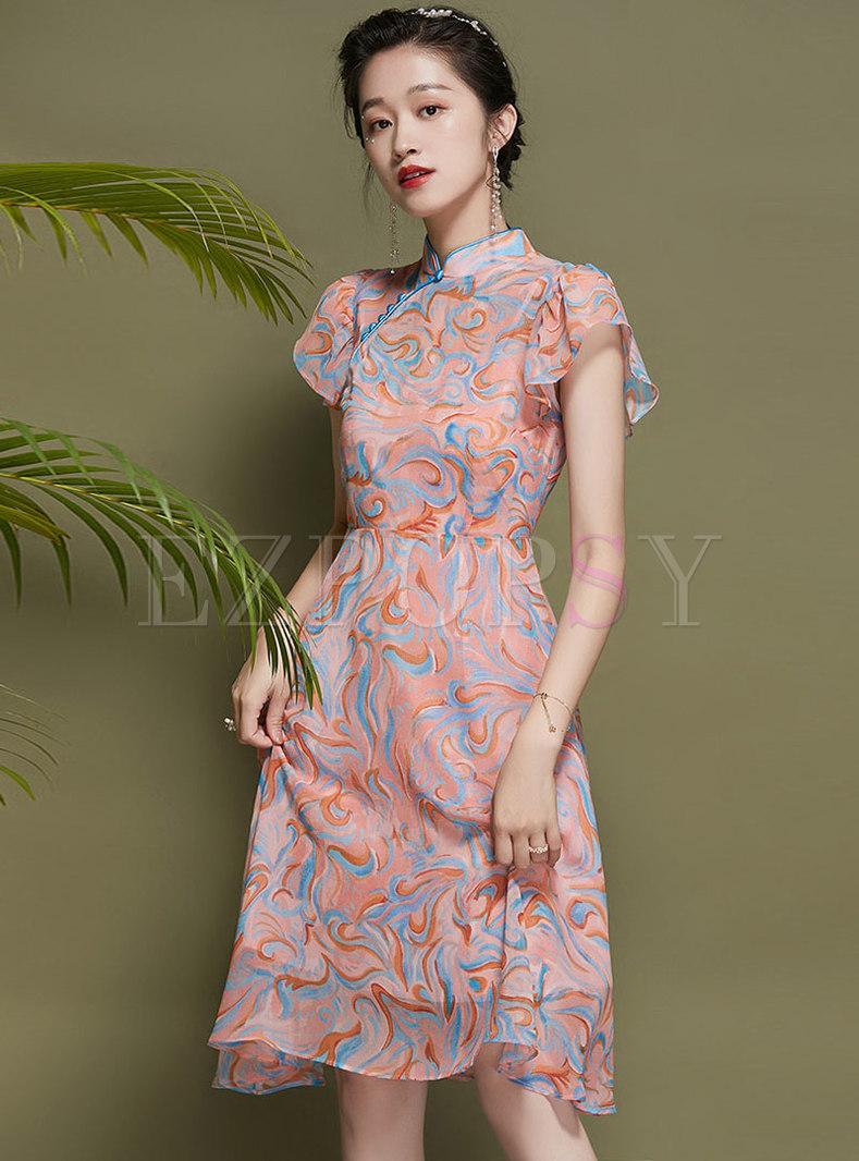 Mandarin Collar Ruffle Sleeve Print Chiffon Skater Dress