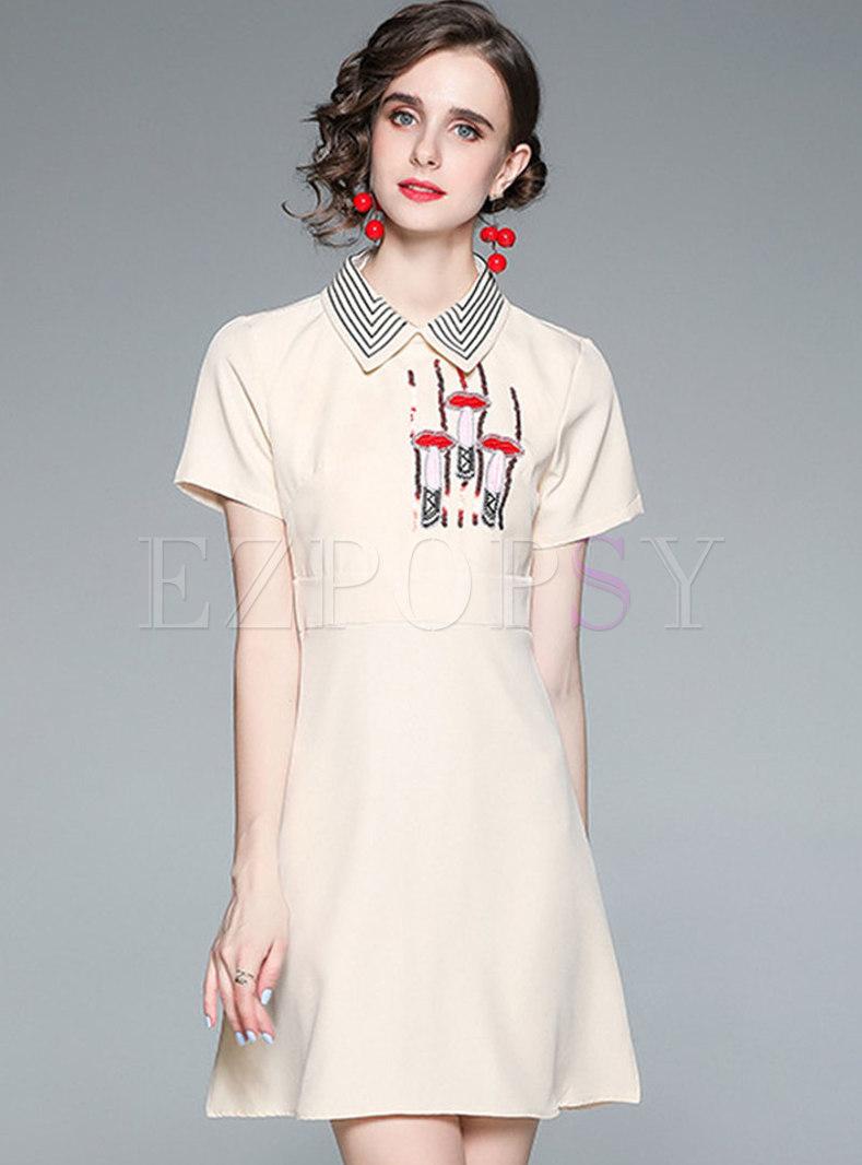 Turn-down Collar Sequin Embellished Skater Dress