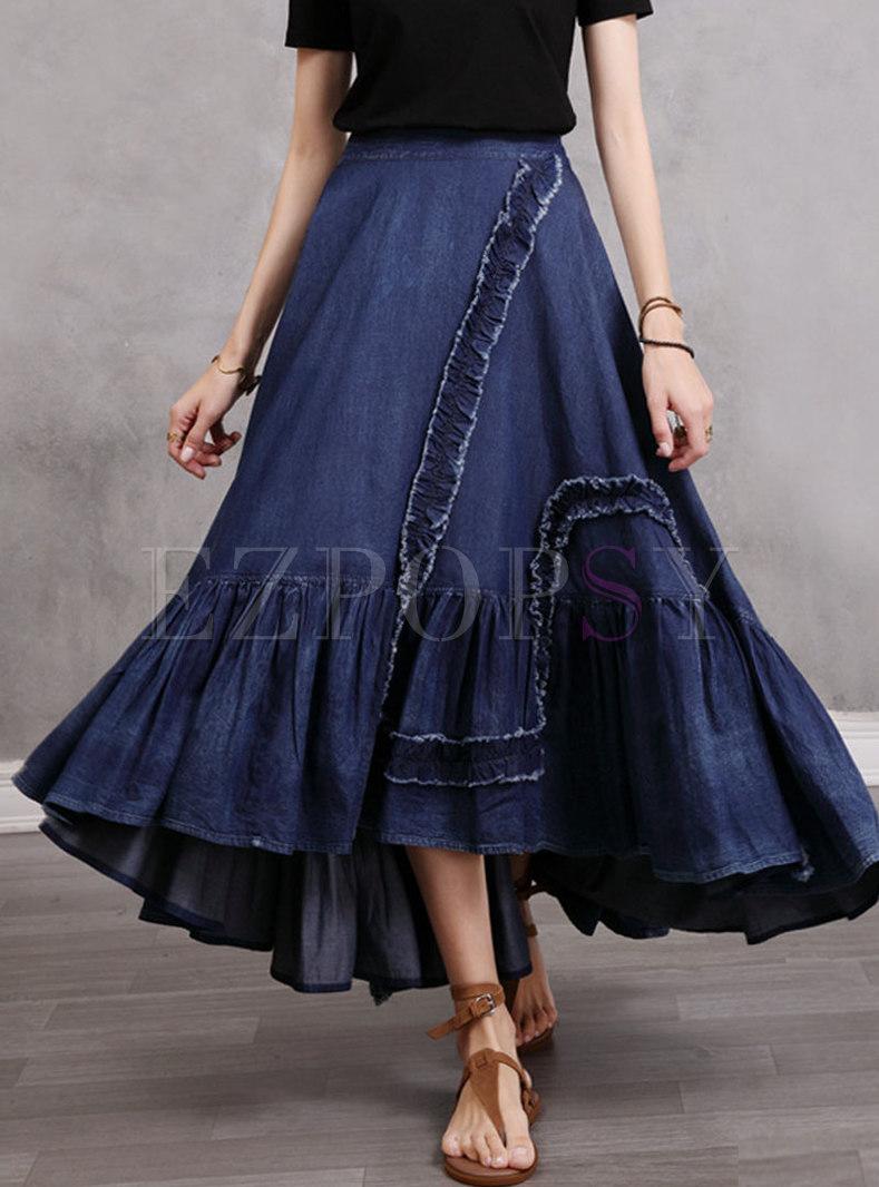 Retro High Waisted A Line Maxi Denim Skirt