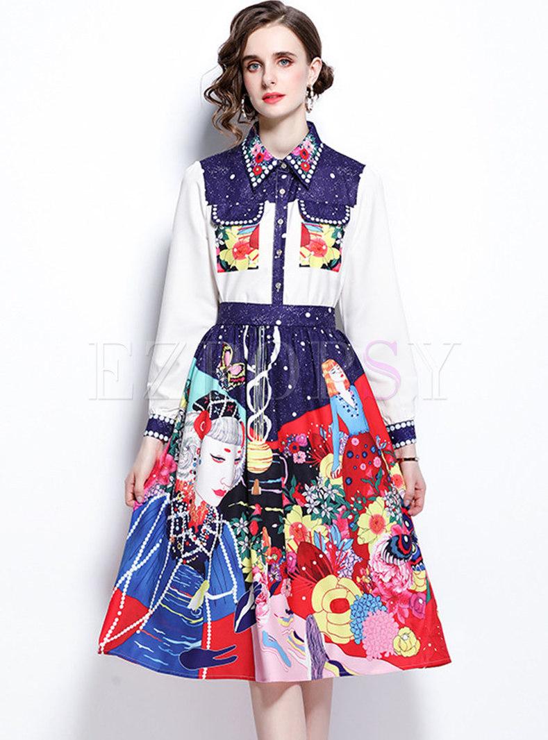 Turn-down Collar Print High Waisted Skirt Suits