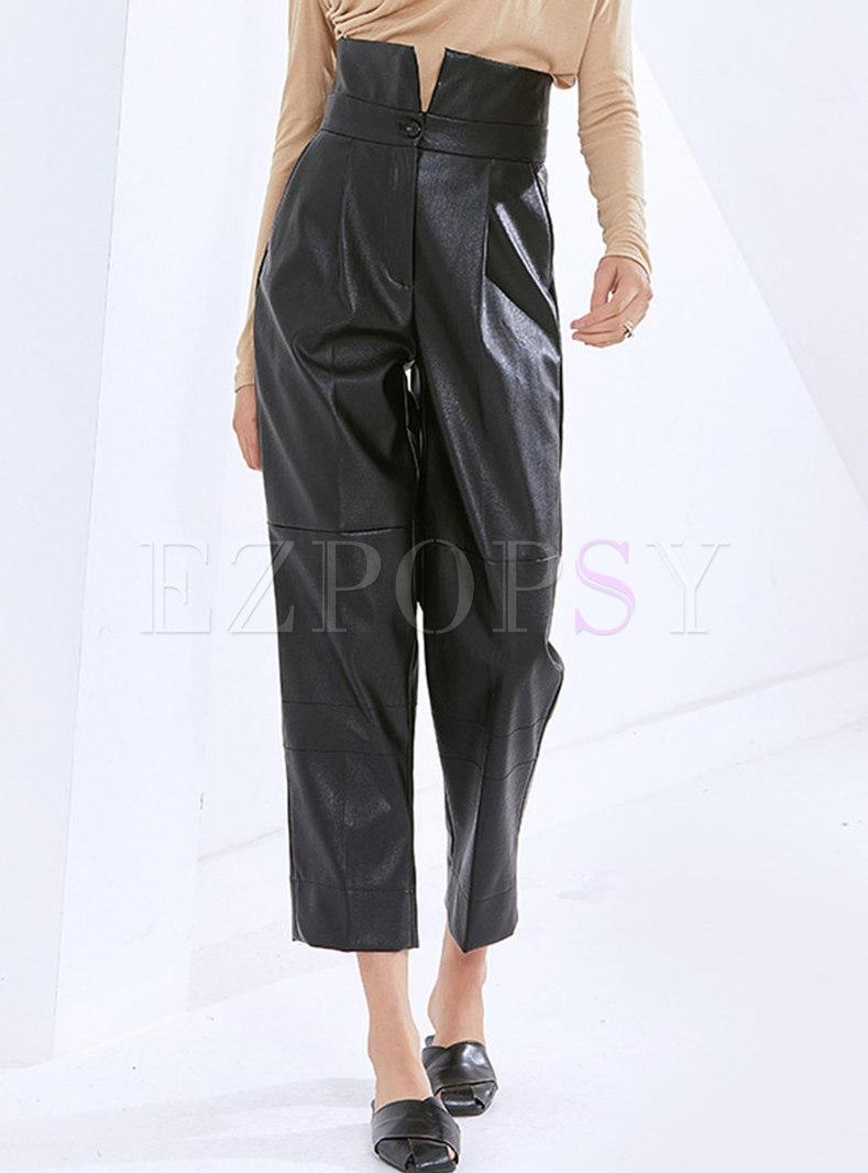 Black High Waisted PU Harem Pants