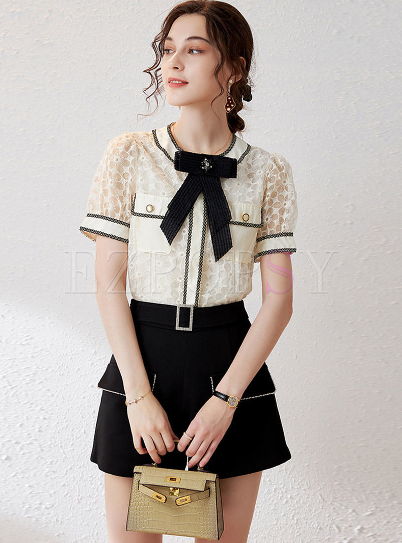 Color-blocked Bowknot Pullover Blouse & High Waisted Shorts