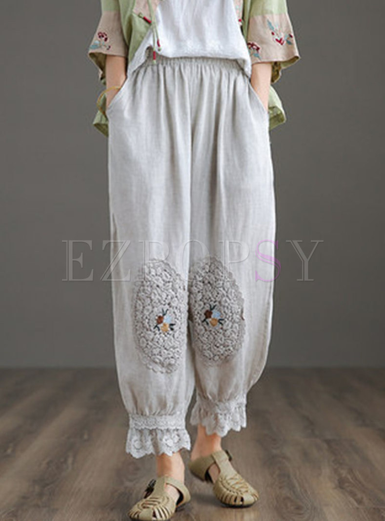 Retro High Waisted Embroidered Linen Pants