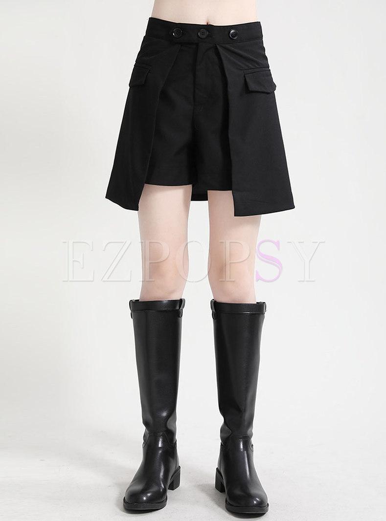 Black High Waisted Asymmetric Shorts