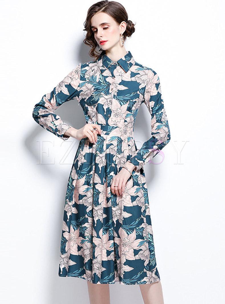 Turn-down Collar Long Sleeve Print Shirt Dress