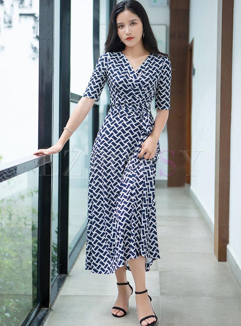 Retro V-neck Half Sleeve Plaid Wrap Maxi Dress