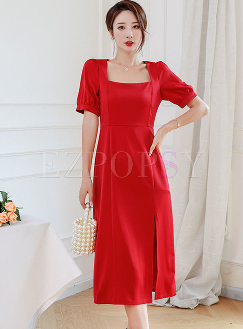 Red Square Neck Puff Sleeve Slit Midi Dress