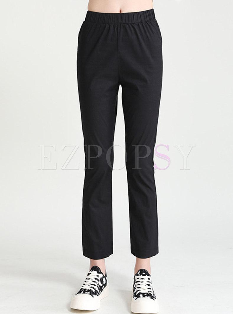 Black High Waisted Split Straight Pants