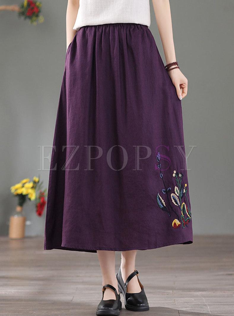 High Waisted A Line Embroidered Linen Skirt