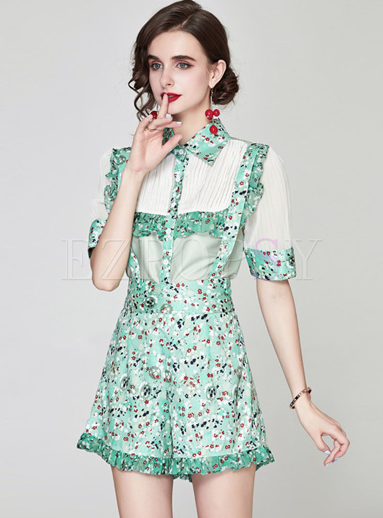 Turn-down Collar Print Patchwork Hot Pant Suits
