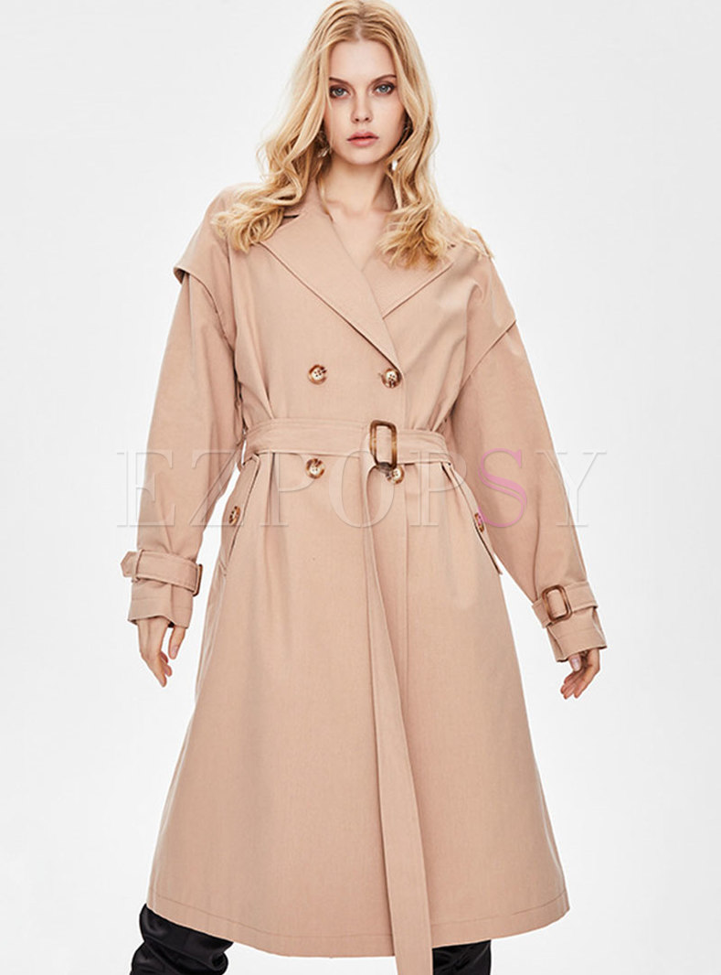 Casual Lapel Double-breasted Straight Trench Coat