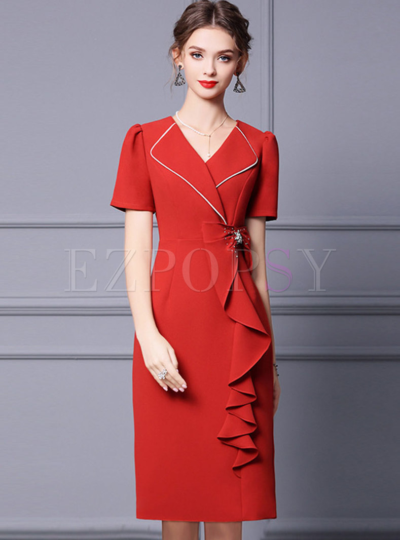 Red Lapel Beaded Ruffle Patchwork Bodycon Dress