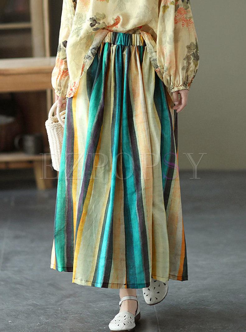 Retro High Waisted Striped A Line Maxi Skirt