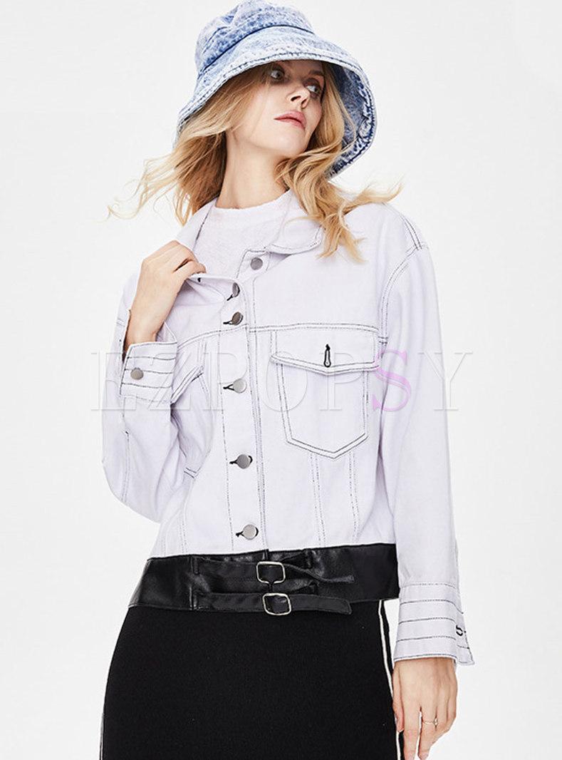 White Turn-down Collar PU Patchwork Denim Jacket