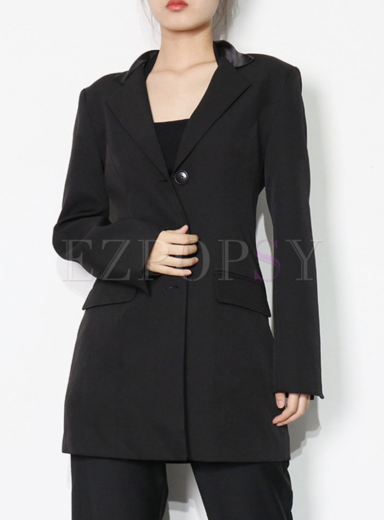 Notched Collar Backless Chain Embellished Blazer