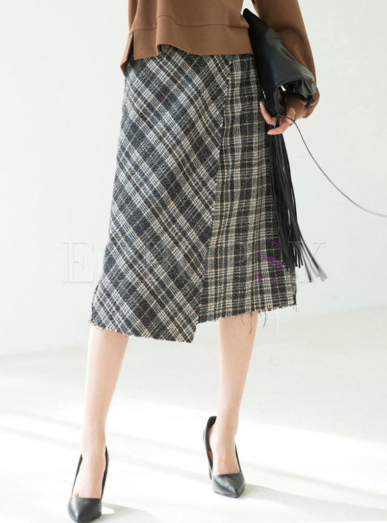 High Waisted A Line Asymmetric Maxi Skirts