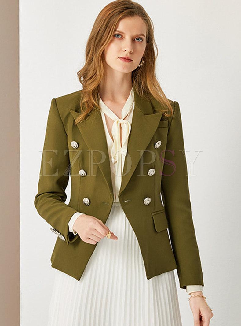 Notched Collar Button-down Short Blazer
