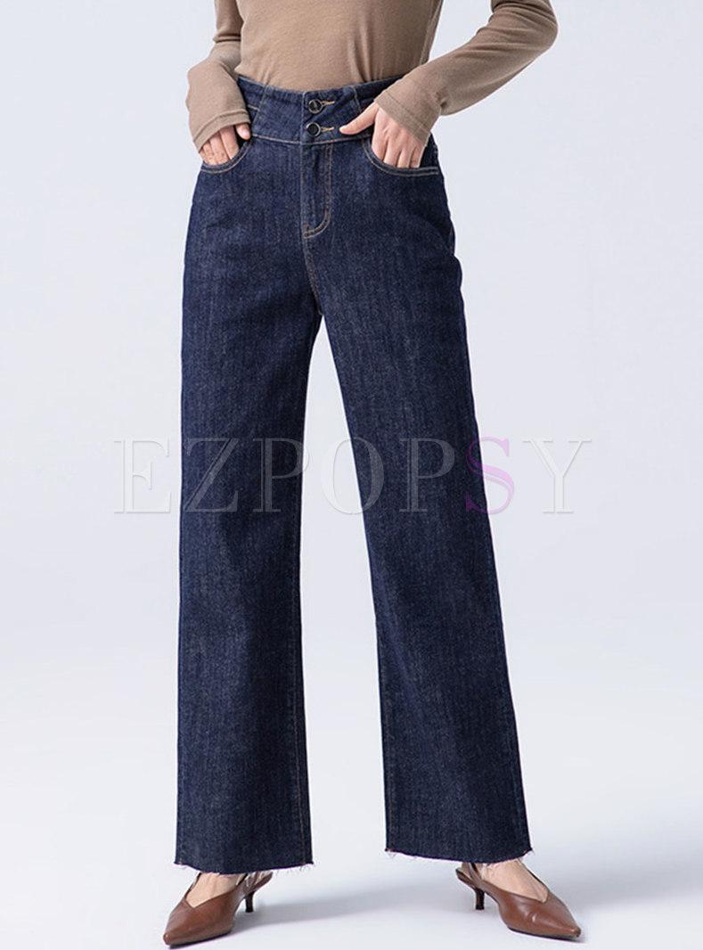 Retro Deep Blue High Waisted Wide Leg Jeans
