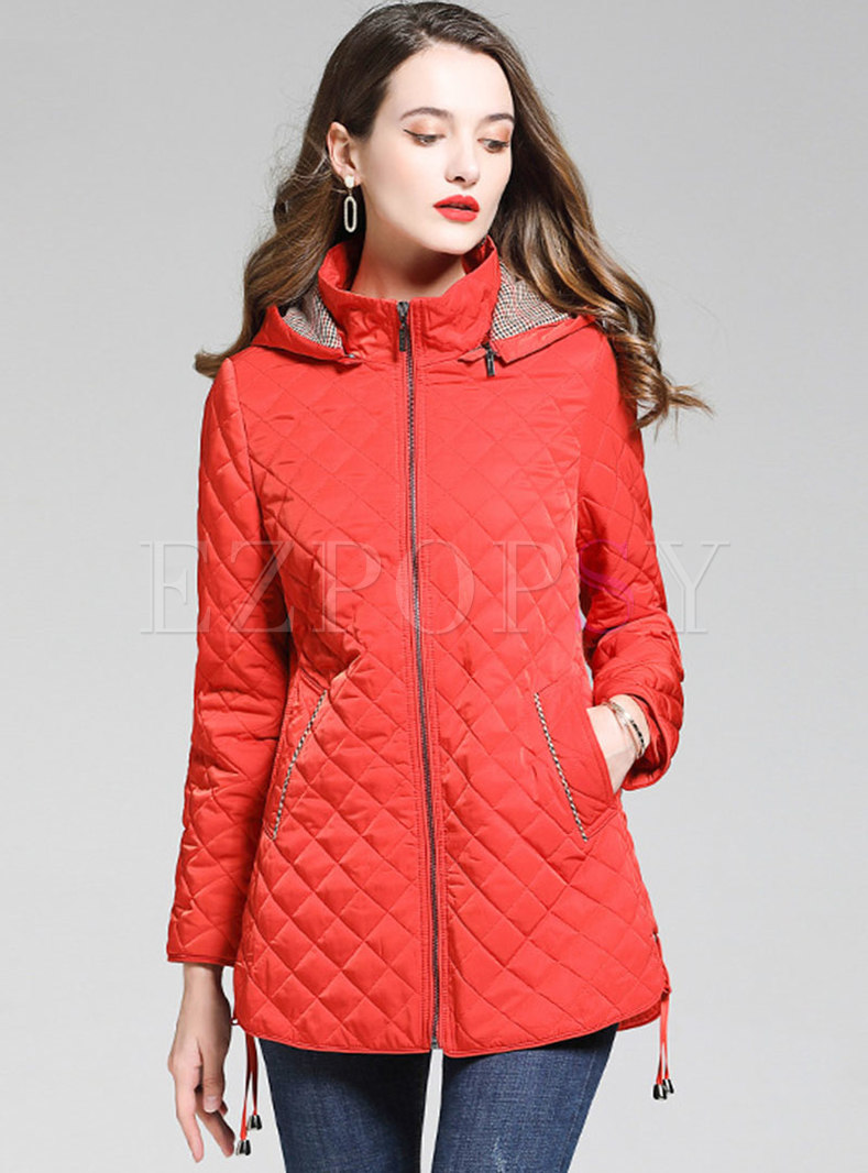 Hooded Rhombic Removable Light Down Coat